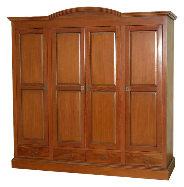 Beau Large Mahogany 4 Pocket Doors Media Entertainment Armoire Wardrobe