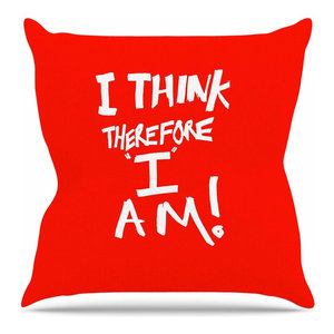 """Bruce Stanfield """"I Think, Therefore I Am RED"""" White Typography Throw Pillow"""