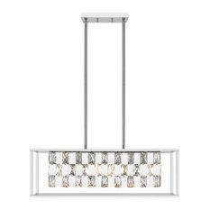 OVE Decors Alcomo 6-Light LED Linear Crystal Pendant, Chrome