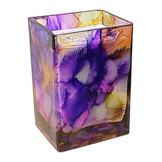 Pumpkin Vanilla Rectangle Candle, Purple and Yellow, 20 oz.