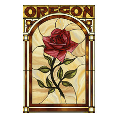 """""""Oregon, Rose Stained Glass"""" Print, 16""""x24"""""""