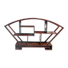 Chinese Medium Brown Fan Shape Display Curio Cabinet