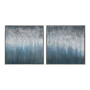 Blue Rain Abstract Textured Metallic Hand Painted Wall Art Diptych Set Canvas