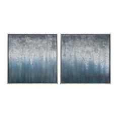 Blue Rain Abstract Textured Metallic Hand Painted Wall Art Diptych Set Canvas