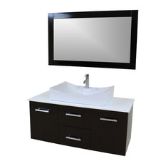 Modern Contemporary Bathroom Vanity *WALL MOUNT*, Espresso, 47""
