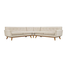 Upholstered Fabric L-Shaped Sectional Sofa Beige