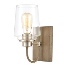 Bakersfield 1-Light Vanity Light, Light Wood With Clear Glass