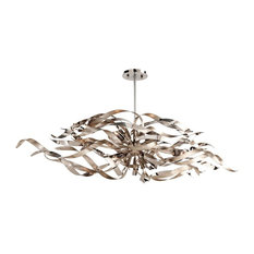 Six Light Silver Leaf And Polished Stainless Island Light