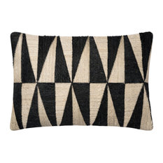 "Loloi x Justina Blakeney Throw Pillow Cover Only, Black/Beige, 16""x26"""