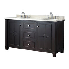 "OVE Decors Positano 60"" Tobacco Finish Vanity With Sahara Marble Countertop"