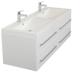 Emotion Persepolis Bathroom Furniture, 144 cm, White High-Gloss
