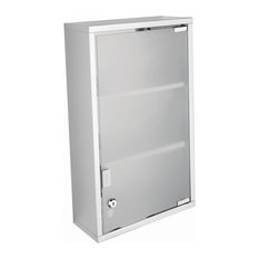 Modern Steel and Glass Wall-Mounted Bathroom Cabinet