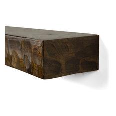 "Rough Hewn Fireplace Shelf Mantel, Dark Chocolate Oak, 72"""