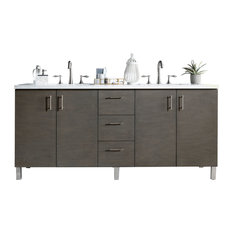 "Metropolitan 72"" Silver Oak Double Vanity w/ 3cm Shadow Gray Quartz Top"