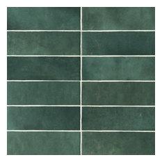 "Cloe 2.5""x8"" Artisan Ceramic Subway Tile, Green"