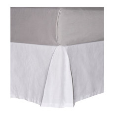 Serenta Solid White Cotton Canvas Drop Bed Skirt with Quadruple Pleats, Full