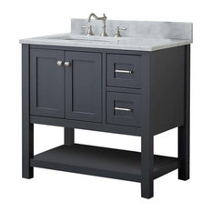 "Cabinet Mania Gray Shaker 36"" Bathroom Vanity Open Shelf With Marble Top"