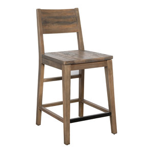 "Norman Reclaimed Pine 24"" Counter Stool, Natural Multi-Tone by Kosas Home"