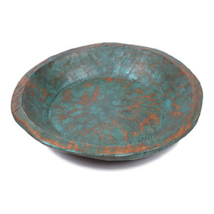 Painted Round Rustic Wooden Dough Bowl, Turquoise, Round