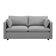 Upholstered Soft Polyester Fabric Sofa Light Gray