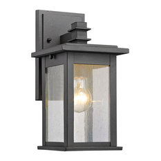 "Tristan 1 Light Outdoor Wall Sconce 12"" High, Textured Black"