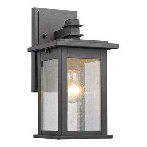 "Tristan 1 Light Outdoor Wall Sconce 12"" High, Textured Black"
