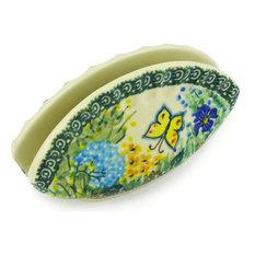 "Polish Pottery 5"" Stoneware Napkin Holder Hand-Decorated Design"