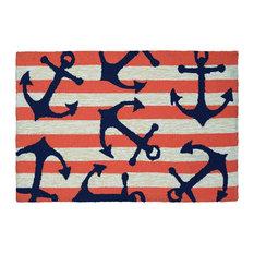 Couristan, Inc. - Couristan Covington Accents Anchors Away Indoor/Outdoor Mat, Coral, 2'x3' - Doormats