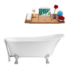 "59"" Streamline N341CH-CH Soaking Clawfoot Tub With External Drain"