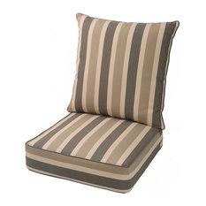 LNC Indoor Outdoor Cushion Deep Seat Chair Cushion Brown Cabana Stripe
