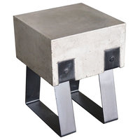 HomeRoots Furniture, Modern Concrete and Black Stool