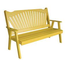 4' Pine Bench in Fanback Style, Oak Stain