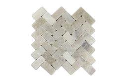 "11""x12"" Mixed Quartz Herringbone Stone Mosaic Tile"