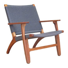 Abuelo Woven Manila Lounge Chair, Burgandy, Teak