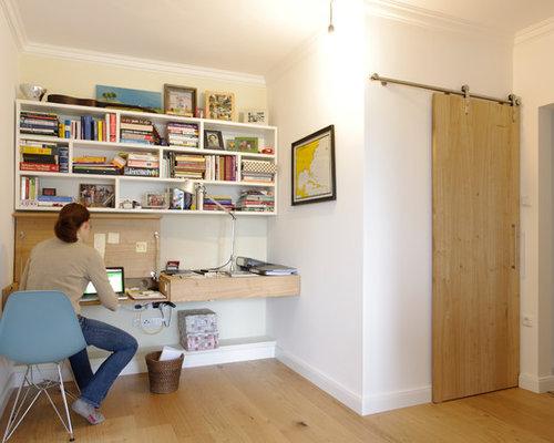 kleine arbeitszimmer mit kaminsims aus holz ideen design bilder houzz. Black Bedroom Furniture Sets. Home Design Ideas