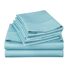 Checkered Collection Embossed 4 Piece Set, 1800 Series Bed Sheets, Blue, Queen