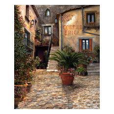 """Tuscan Courtyard"" Canvas Painting by H. Hargrove, 20""x24"""