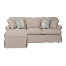 Horizon Slipcovered Sleeper Sofa With Chaise,  Linen