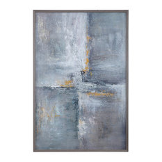 "Oversize Modern Industrial Gray Gold 62"" Painting 