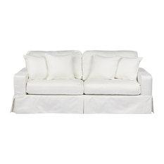 Sunset Trading Americana Slipcovered Sofa Performance White Sofas