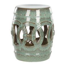 White Glazed Ceramic Garden Stool, Blue-Green