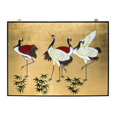 Hand-Painted Cranes Wall Plaque