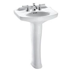 Toto Lpt642#01 Dartmouth 25x18 Cotton White Pedestal Lavatory Sink