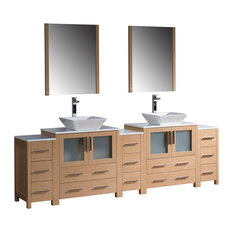 "96"" Light Oak Double Sink Bathroom Vanity, 3 Side Cabinets and Vessel Sinks"