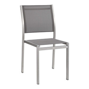 Shore Outdoor Aluminum Dining Side Chair, Silver/Gray