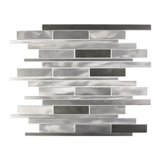 "Silver Dark Wide Brushed 16""x11.75"" Aluminum Mosaic"