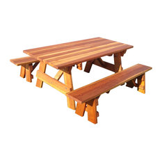 Best Redwood   Picnic Table, Clear, 30.5x54x48, Detached Bench And 1.5 Round