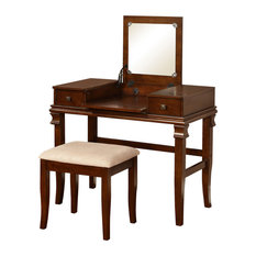 Wooden Vanity Set With Flip Top Mirror and 2 Drawers, Brown and Beige