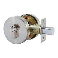 Round Deadbolt, Key/Knob, Satin Nickel