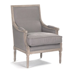 St Germain French Country Limed Oak Louis Xvi Grey Linen Accent Club Chair